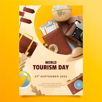 Plantilla de volante vertical del día mundial del turismo con degradado con foto