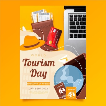 Plantilla de volante vertical del día mundial del turismo con foto