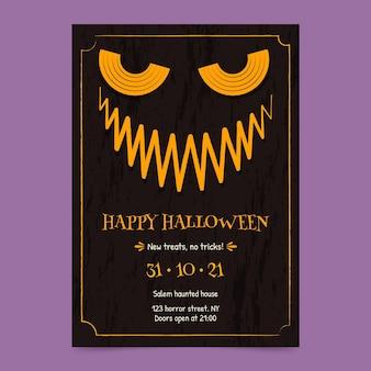 Plantilla de volante vertical de fiesta de halloween dibujada a mano