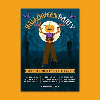 Plantilla de volante vertical de fiesta de halloween plana dibujada a mano Vector Premium
