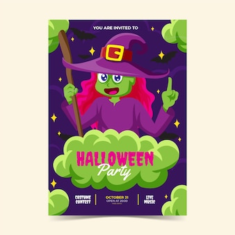 Plantilla de volante vertical de fiesta de halloween plana dibujada a mano