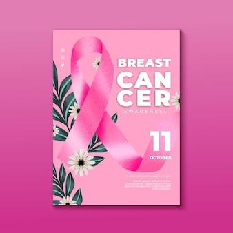 Plantilla de volante vertical del mes de concientización sobre el cáncer de mama en acuarela