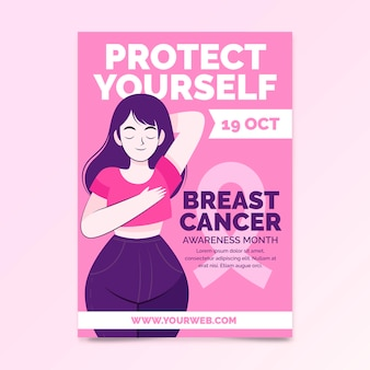 Plantilla de volante vertical del mes de concientización sobre el cáncer de mama plano dibujado a mano