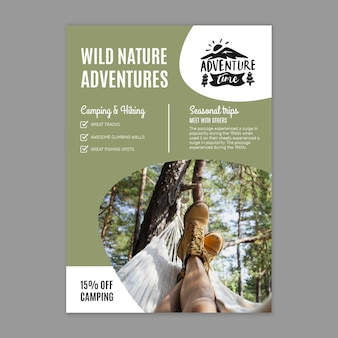 Plantilla de volante vertical de naturaleza salvaje