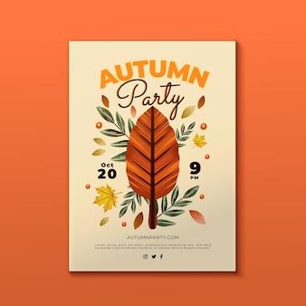 Plantilla de volante vertical de otoño en acuarela