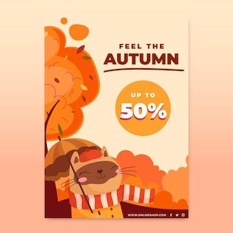 Plantilla de volante vertical de otoño de dibujos animados