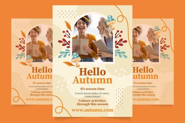 Plantilla de volante vertical de otoño con foto