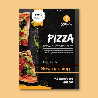 Plantilla de volante vertical para pizzería