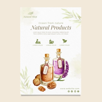 Plantilla de volante vertical de productos naturales