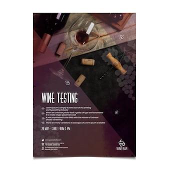 Plantilla de volante vertical de prueba de vino