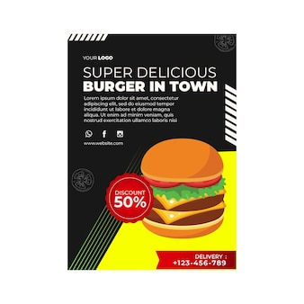 Plantilla de volante vertical para restaurante de hamburguesas