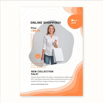 Plantilla de volante vertical de servicio de compras en línea