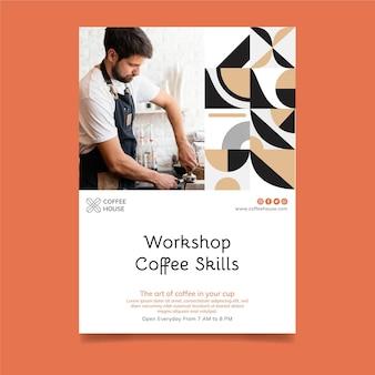 Plantilla de volante vertical de taller de café