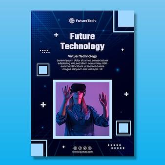 Plantilla de volante vertical de tecnología y futuro