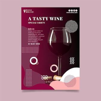 Plantilla de volante vertical de vino sabroso