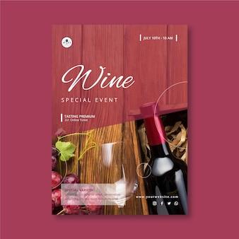 Plantilla de volante vertical de vino