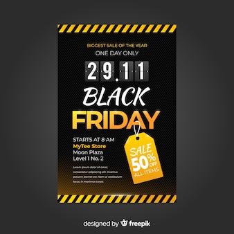 Plantilla de volante de viernes negro de diseño plano