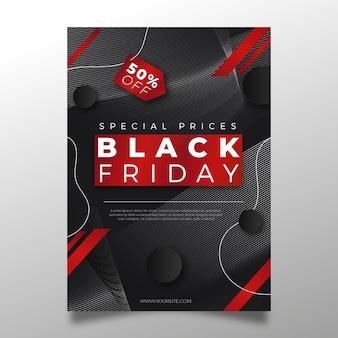 Plantilla de volante de viernes negro en diseño plano
