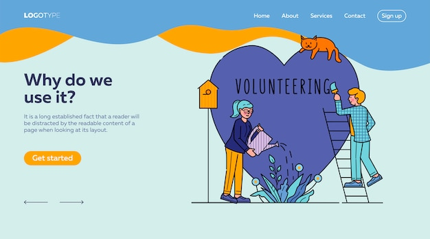 Plantilla voluntaria de la página de destino de personas de caridad