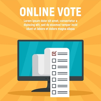 Plantilla de votación de computadora en línea, estilo plano