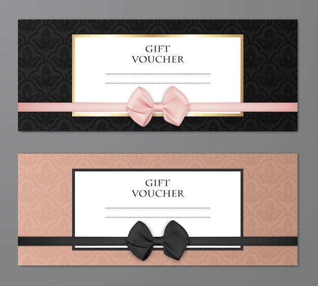 Plantilla de voucher de regalo moderno de vector con patrón floral y hermoso arco.