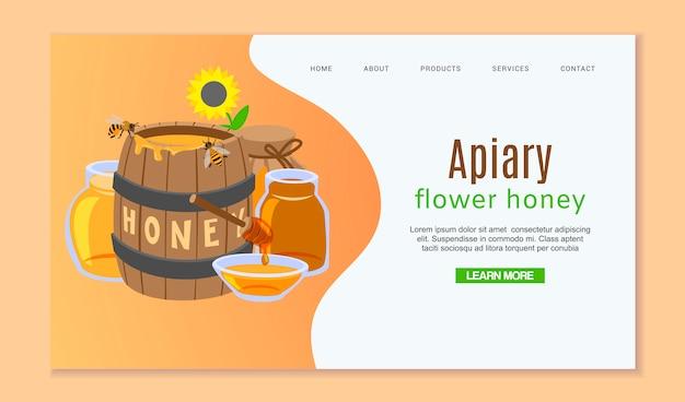 Plantilla web de apicultura y miel con barril de miel