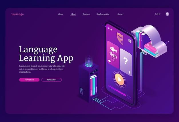 Plantilla web de aplicación de aprendizaje de idiomas. servicio de educación móvil en línea, formación digital en idiomas extranjeros