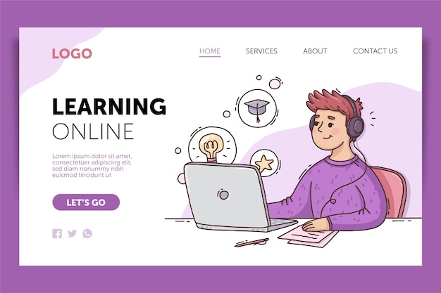 Plantilla web de aprendizaje en línea dibujada a mano