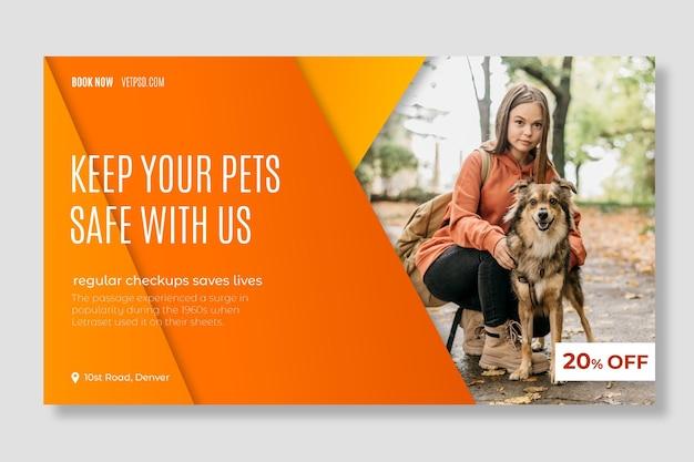 Plantilla web de banner de clínica veterinaria de mascotas saludables