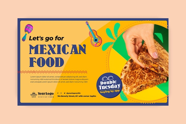 Plantilla web de banner de comida mexicana