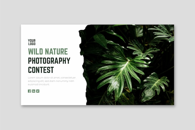 Plantilla web de banner de concurso de fotografía de naturaleza salvaje