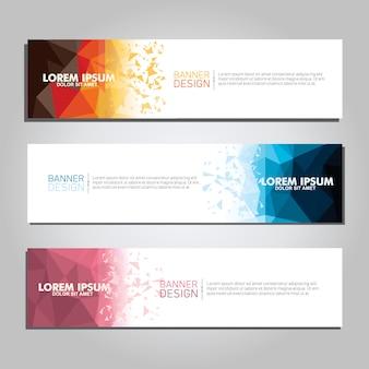 Plantilla de web de banner de diseño moderno poligonal geométrico abstracto de vector