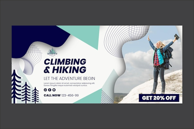 Plantilla web de banner de escalada y senderismo