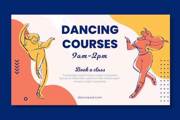 Plantilla web de banner de escuela de cursos de baile