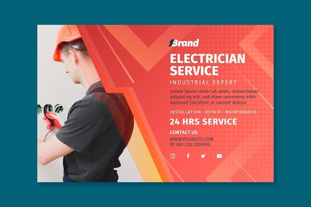 Plantilla web de banner de hombre de servicio de electricista
