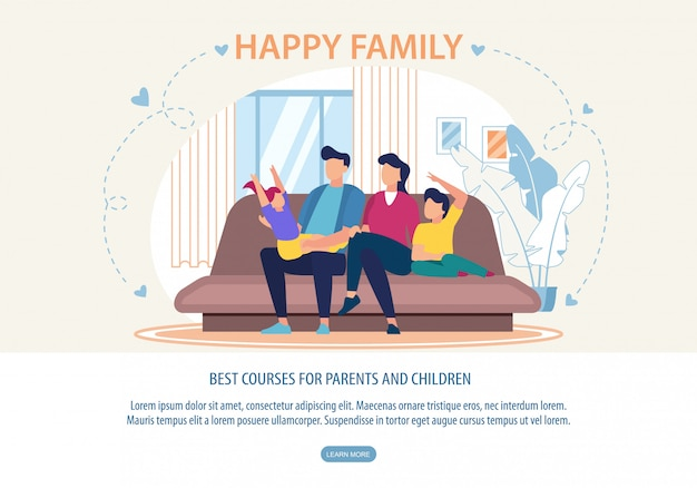 Plantilla web de banner para los mejores cursos para padres e hijos