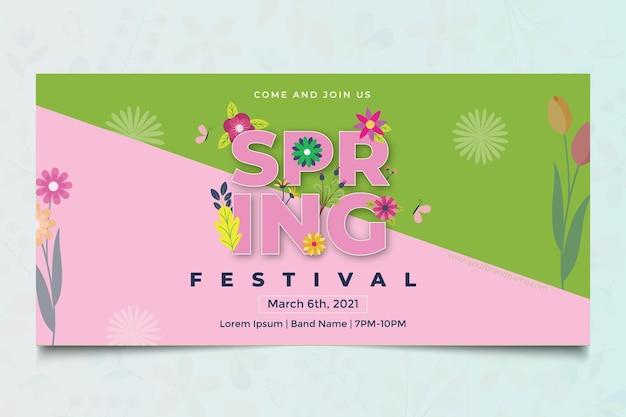 Plantilla web de banner de primavera de diseño plano floral