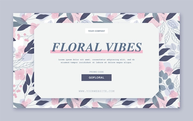 Plantilla web de banner de vibraciones florales