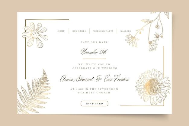 Plantilla web de boda floral