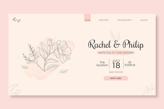 Plantilla de web de boda minimalista floral