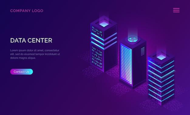 Plantilla web de centro de fechas, iconos de bastidores de servidor