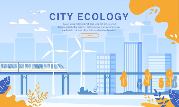 Plantilla web de city ecology protection by electric railway usage