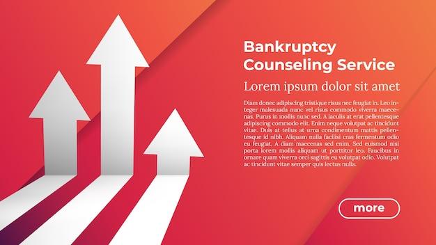 Plantilla web en colores de moda - servicio de asesoramiento de bancarrota. dirección de destino de flecha empresarial hacia el crecimiento y el éxito.