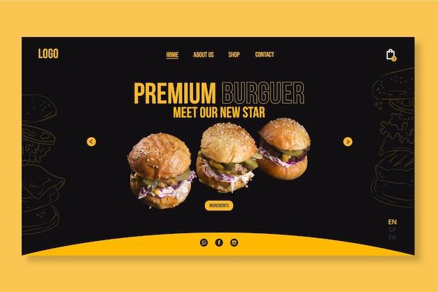 Plantilla de web de comida americana con foto de hamburguesa
