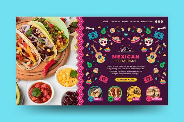 Plantilla web de comida mexicana con foto
