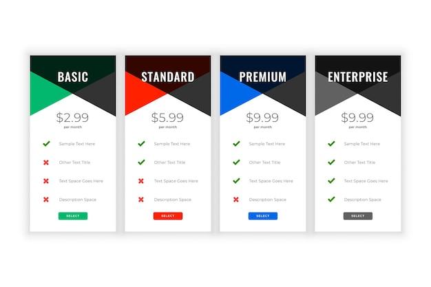 Plantilla web de comparación de precios y planes limpios