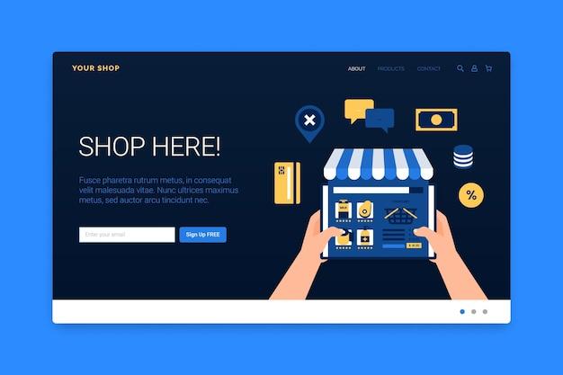 Plantilla web con compras en línea