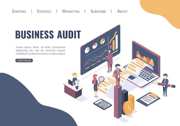 Plantilla web con el concepto de auditoría empresarial.