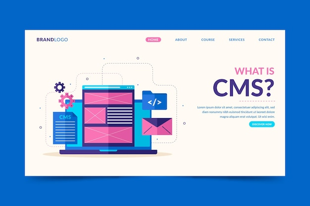 Plantilla web de concepto cms ilustrada
