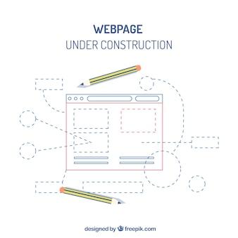 Plantilla web de bajo construcción en estilo plano